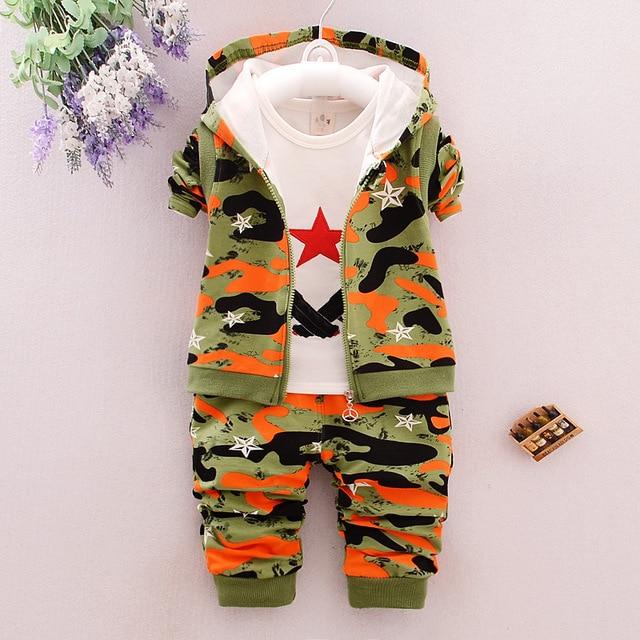 2017 Autumn Children Casual Suits Baby Girls Boys Clothes Sets Camouflage Color Star Coat+T Shirt+Pants 3 Pcs Infant Kids Suits