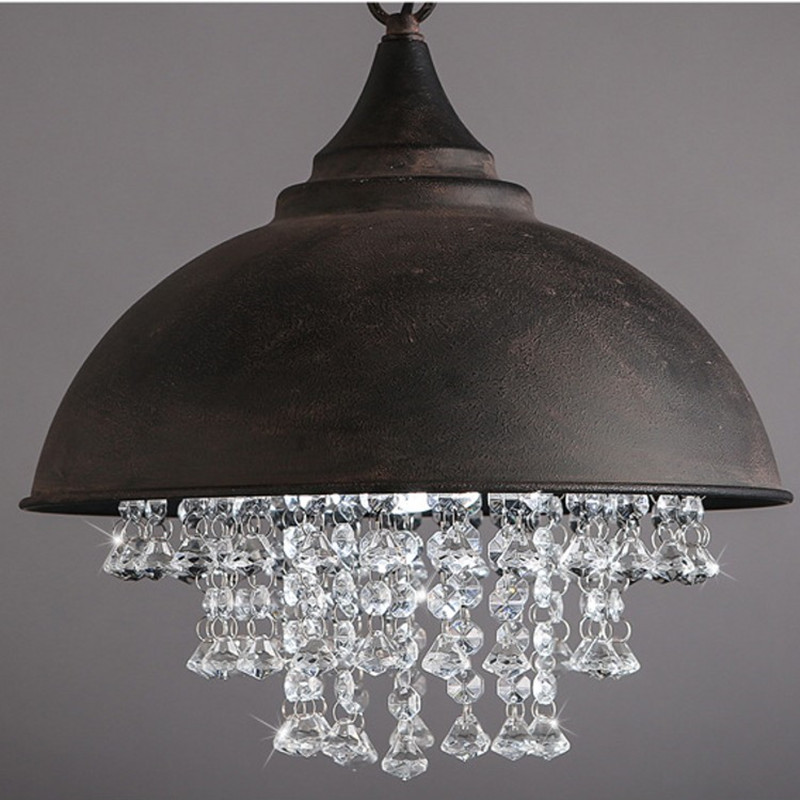 American Village Loft Retro Industrial Lid Crystal Chandelier Personality Art For Cafe Restaurant Decoration Led Home Lighting contemporary and contracted creative personality retro art glass chandelier cafe restaurant study lamps act the role of milan