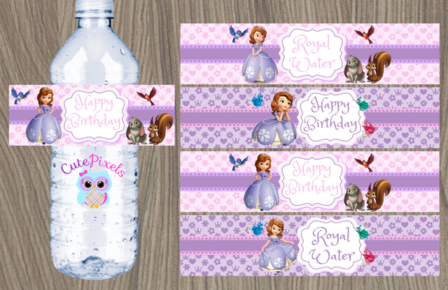 Customized Sofia 3 Wrappers Personalized Water Bottle Labels Baby