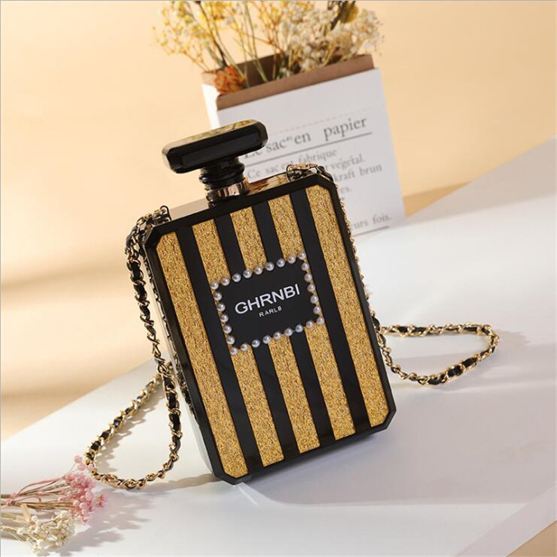 New arrival 2019 Women Fashion Clutches Purse Perfume Bottle Crossbody Shoulder Bags Laides Black Acrylic Box Clutch Evening Bag(China)