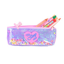Kawaii Cute School Pencil Case PVC Laser Transparent Penal Pencilcase for Girls Large Pen Bag Penalties Box Stationery Pouch(China)