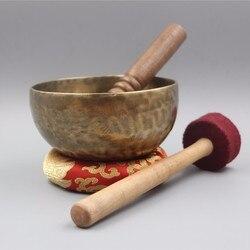 Тибетский буддизм ручной работы медная большая Поющая чаша чаши с кожаной наклейкой и подушкой Budismo Nepal