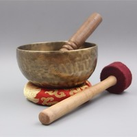 Tibetan Buddism Handmade Copper Large Singing Bowl Bowls With Leather Sticker And Cushion Budismo Nepal