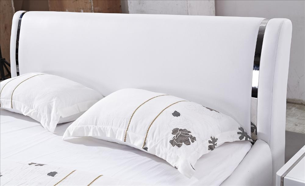 LED Light Bed made with Top grain Cattle Leather Classic White and