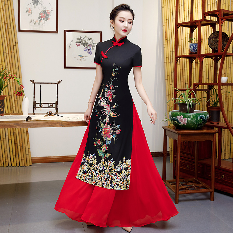 Plus Size 5XL Aodai Qipao Dress Chinese Traditional Women Embroidery Flower 4XL Cheongsam Novelty Chinese Formal Party Dress