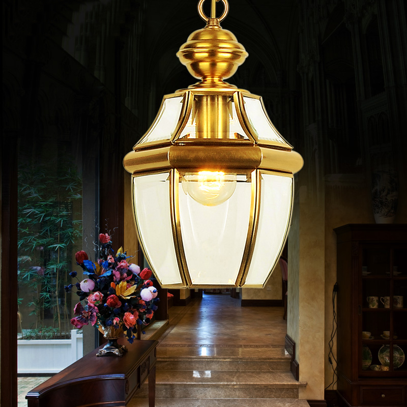 ФОТО European style lamp copper lighting American small chandelier aisle lights lamp porch lamp Yang garden lighting lamp