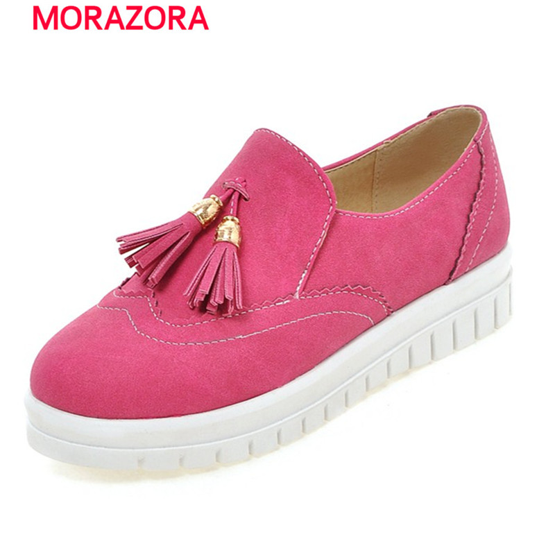 2016 new fashion spring autumn nubuck leather flat shoes woman round toe platform solid black red casual women flats