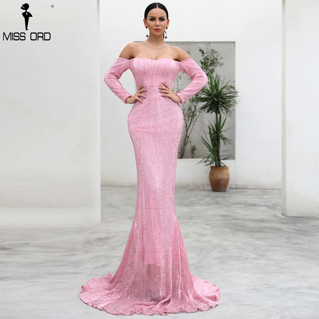 b4c7ffd9e26cc Missord 2019 Sexy BRA Long Sleeve Sequin Backless Dresses Women Skinny Maxi  Party Elegant Dress FT8714-A