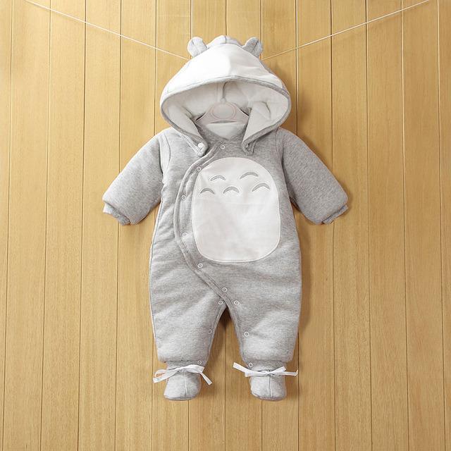 2017 Novas Roupas Destacável Bebê Recém-nascido de Algodão One piece-Grosso Com Capuz Roupa Morna do Inverno Romper Do Bebê Estilo Animais Totoro