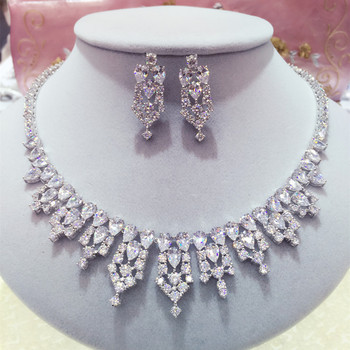 New style Luxury AAA+ Cubic Zircon Earring and Necklace Wedding Jewelry Set For Brides  Dress Accessories N0195/E5151