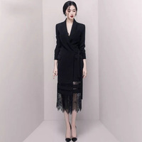 Sexy Party Long Lace Straight Dress Black Notched Long Sleeve Womens Dress Elegant Vintage Office Ladies Spring Suit Dresses