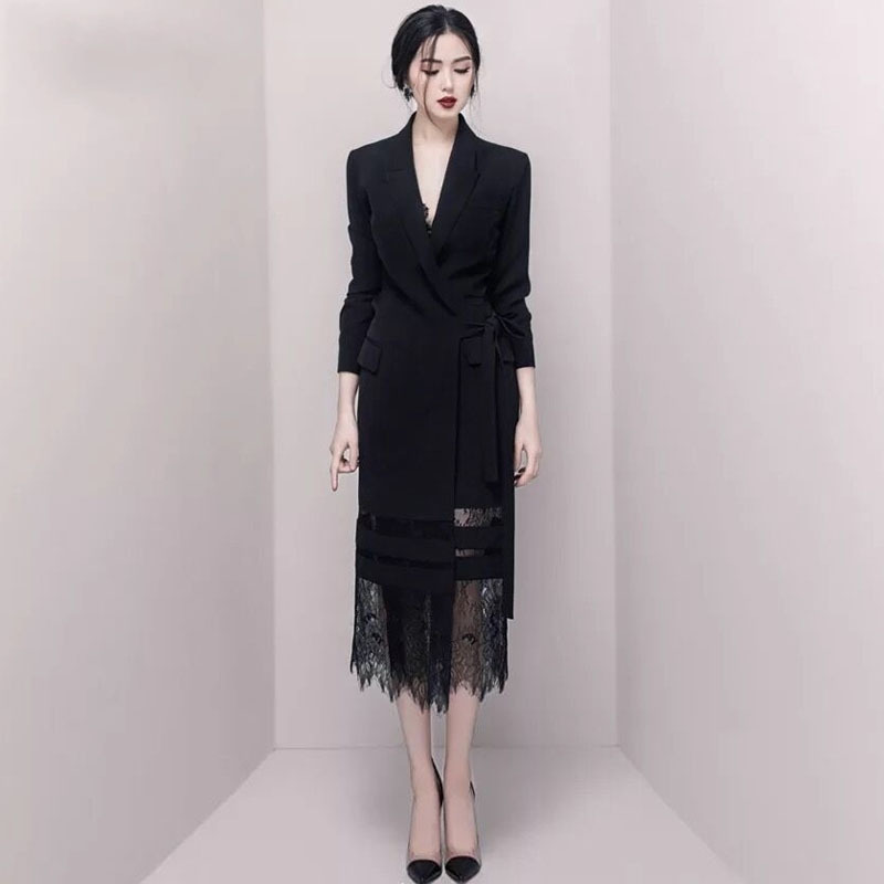 Sexy fête longue dentelle robe droite noir cranté à manches longues femmes robe élégante Vintage bureau dames printemps costume robes