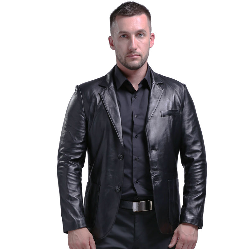 AIBIANOCEL Brand Genuine Leather Jacket Men Slim Fit New Style Luxury Lapel Collar Male Leather ...
