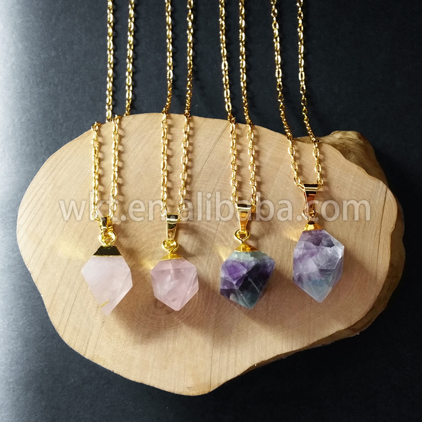 WT-N562Wholesale WKT Flourite necklace Natural rainbow fluorite point necklace with 24k gold strim for women necklace jewelry