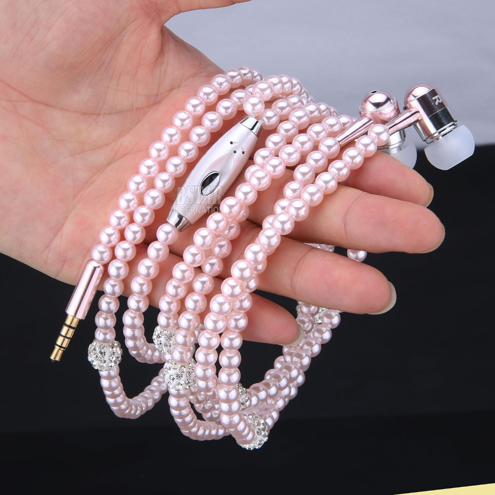 Luxury Bling Diamond earphone Pearl Necklace Chain In-Ear Earphone Stereo With Mic For iphone 6 6s samsung Microphone omasen om m6 stylish stereo in ear earphone w microphone black white 110 cm
