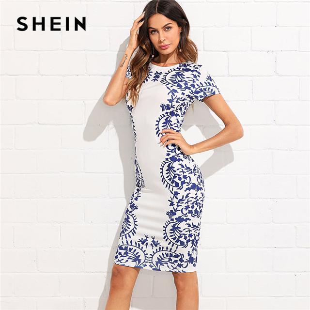 34f1bfd8a SHEIN Porcelain Print Zip Back Pencil Dress Women Round Neck Short Sleeve  Slim Short Bodycon Dress