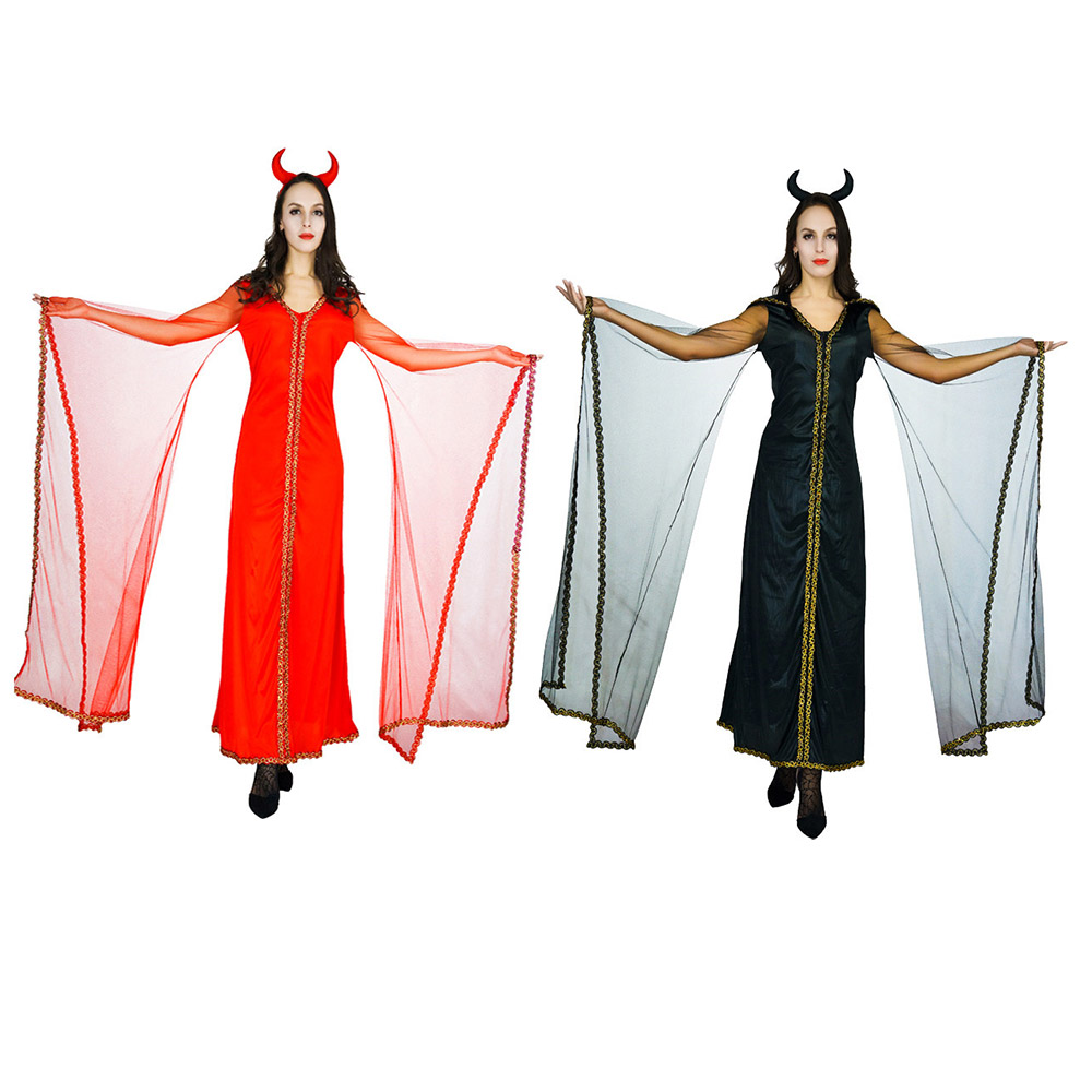 New Adults Devil Costume Red &Black Long Dress Fancy Girls Dress For Carnival Halloween Party Costumes