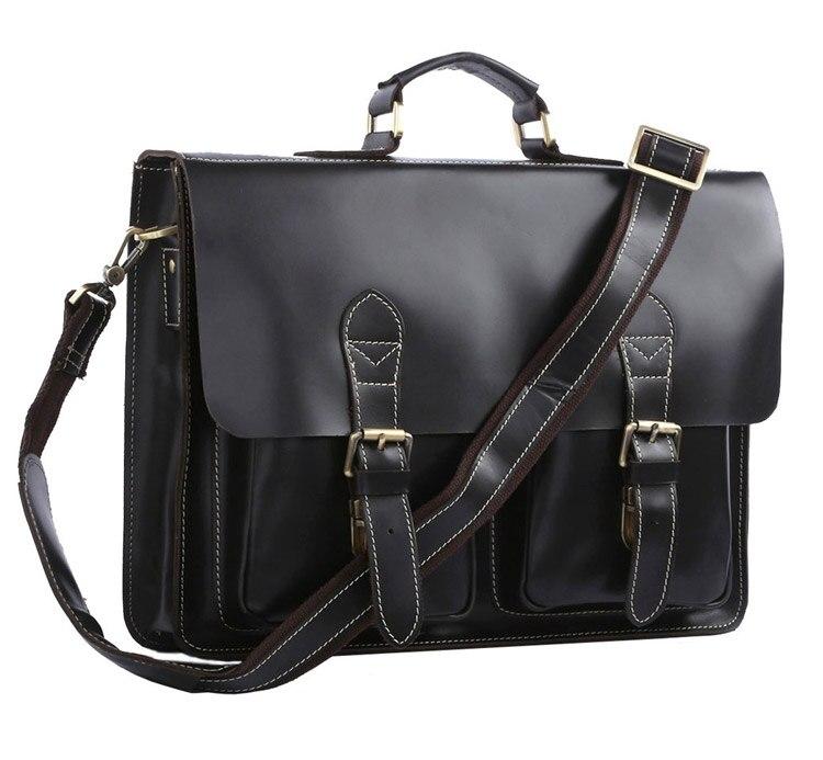 Genuine Leather Men's Fashion Business Briefcases Laptop Handbag Messenger Bag 7105A