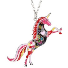 Colorful Unicorn Pendant Necklace