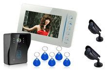 RFID Card Video Door phone Doorbell 7 Inches Video Door Entry System 1 Camera 1 Monitor Support 2 CCTV Outdoor Bullet Camera