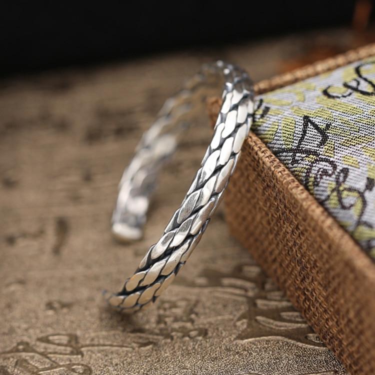 Solid Sterling Silver 925 Twist Rope Band Bracelet Cuff Bangle Men Women 100% Real Silver 925 Vintage Simple Style Handmade Gift цены онлайн