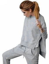 11.11 Alishebuy New Fashion Women Casual Long Sleeve Solid Irregular Sweatshirts with Pants Sportwear Set