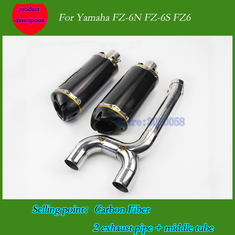 full system slip on Motorcycle Exhaust Muffler pipe Connecting pipe + exhaust for yamaha fz6n fz6s Two Brother Exhaust Pipe