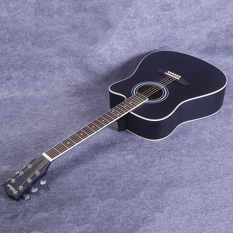 Diduo 41 Inch Acoustic Guitar Folk Basswood Six Strings Guitar Rosewood Fingerboard Musical Instruments Matt Black Unisex