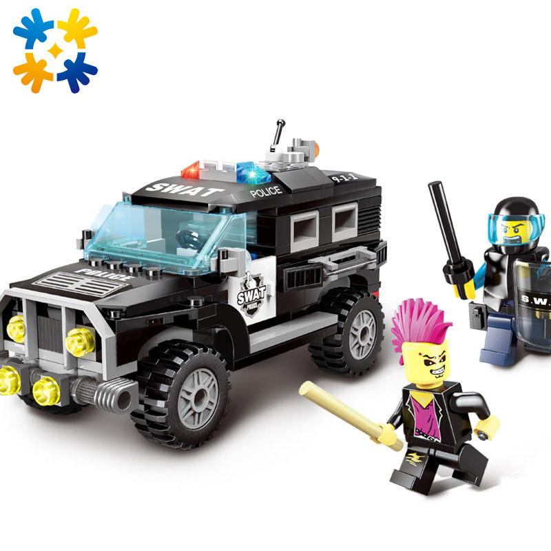 WMX City Series 1110 Police Swat Car Building Block sets Kids Educational Bricks Minifigure Toys Compatible