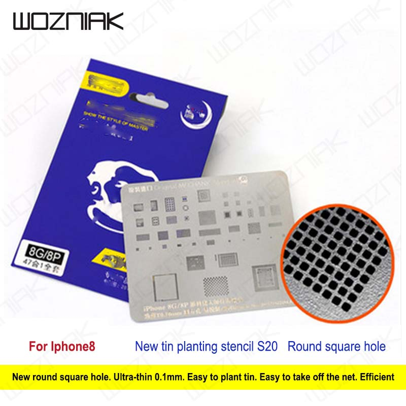 Wozniak Planting Tin Network S20 for iphone 8 6 6s 7 plus A8 A9 A10 for CPU IC Repair Refurbished Tool  0.1mm