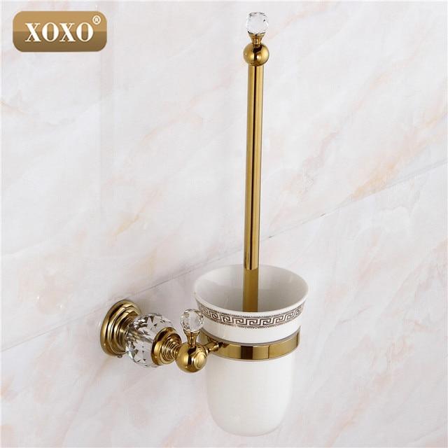 € 33.58 50% de réduction|XOXO Haute Qualité Cristal Décoration Or En Laiton  Toilettes Supports de Brosse Salle De Bains Plateau Sanitaires ...