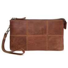 Genuine Crazy Horse Leather Men Wallets Vintage Trifold Wallet Zip Pocket Purse Cowhide Leather Wallet For Mens(China)