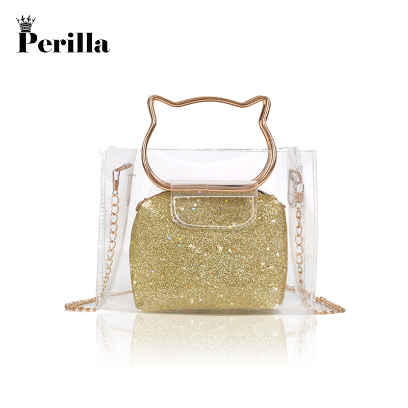 Perilla 2018 Women Transparent Bag Clear PVC Jelly Tote Messenger Bags Laser Holographic Shoulder Bags Female Lady Sac Femme