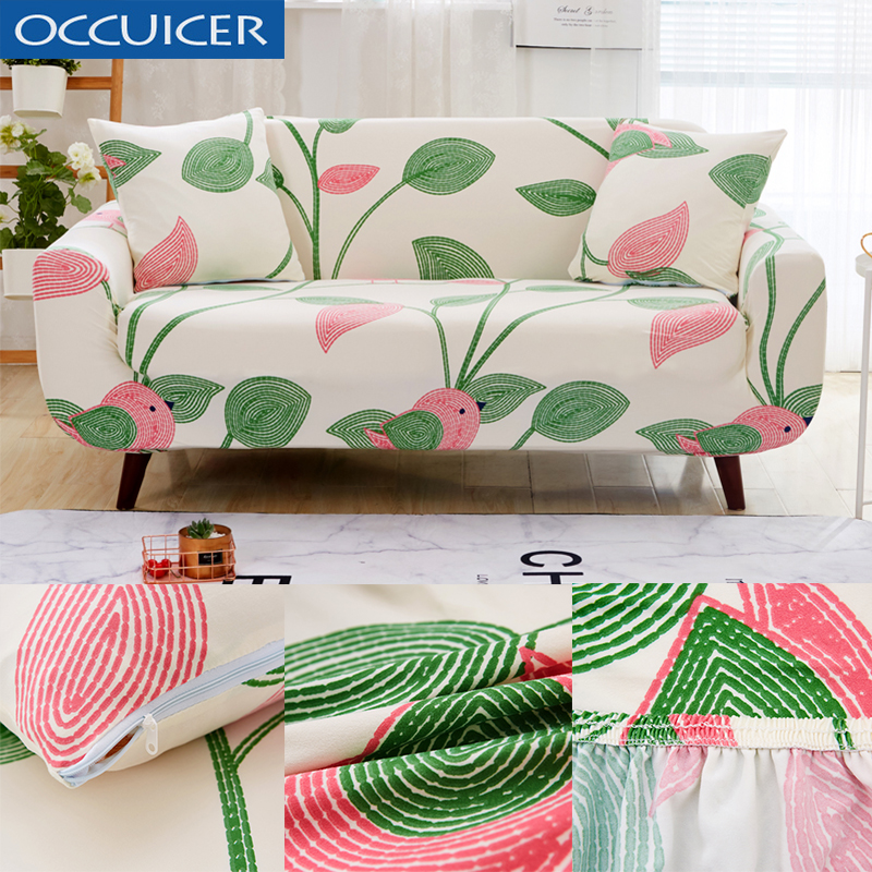 Marvelous Green Leaf Bird Pattern Sofa Cover Polyester Recliner Cover Spiritservingveterans Wood Chair Design Ideas Spiritservingveteransorg