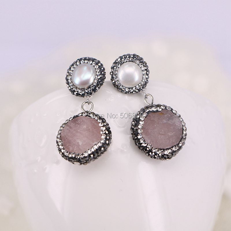 3Pairs Nature Pink Quartz Earrings, Pave Crystal Rhinestone Pearl Earring Studs