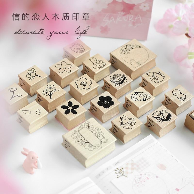 1-4 Pcs/lot Vintage Cherry Sakura Stamp DIY Wooden Rubber Stamps For Scrapbooking Stationery Scrapbooking Standard Stamp