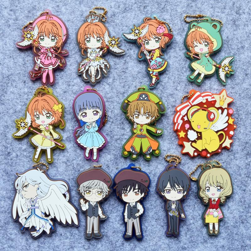 CARDCAPTOR SAKURA CLEAR CARD Anime KINOMOTO SAKURA Yue TUKISIRO YUKITO Daidouji Tomoyo LI SYAORAN TOUYA Rubber Keychain nendoroid card captor sakura li syaoran 763 kinomoto sakura 400 pvc action figure collectible model toy doll
