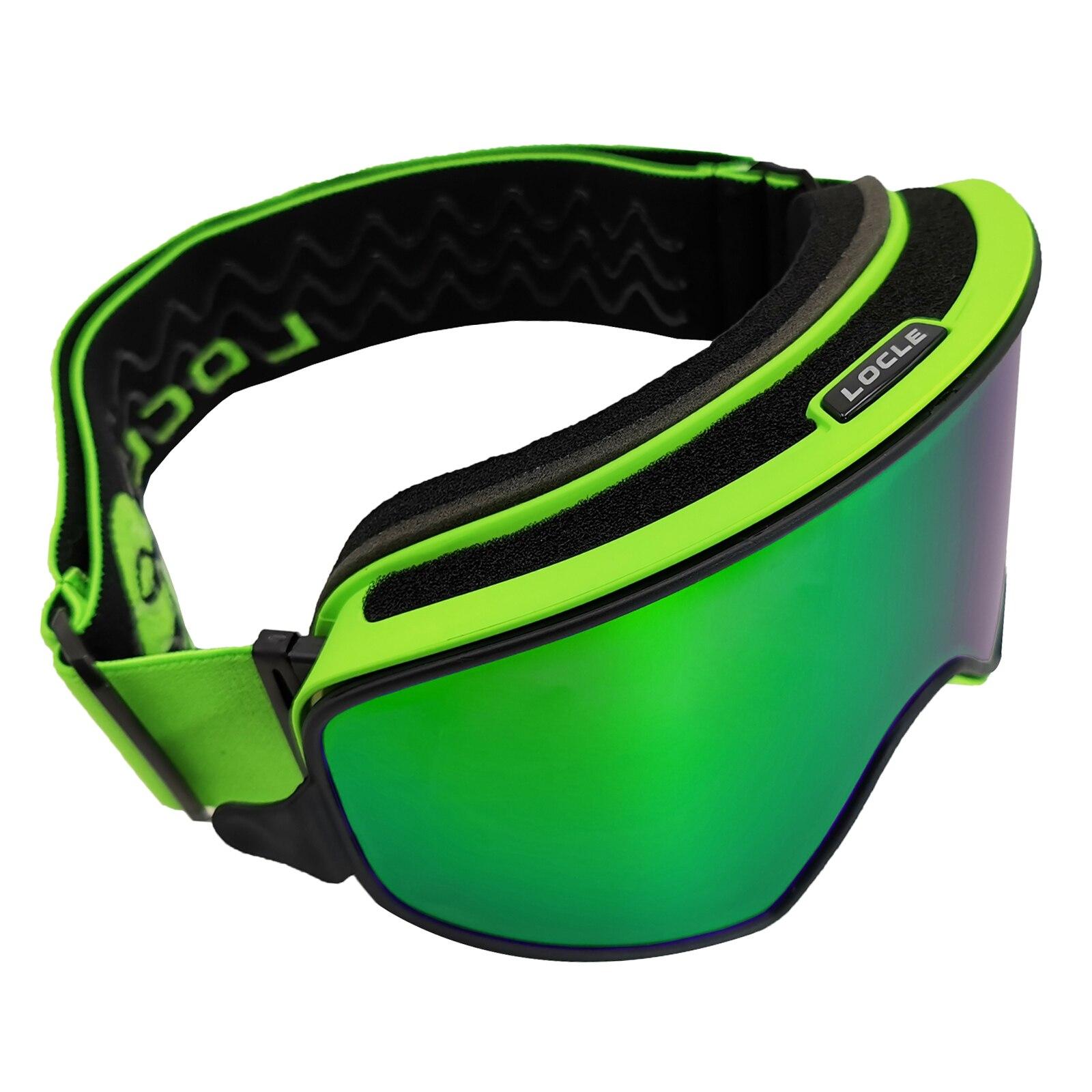 LOCLE Magnetic Quick-change Ski Goggles 2 In 1 Men Women Snowboard Goggles Skiing Glasses Snow Skiing Glasses Anti-fog Ski Mask