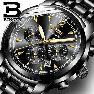 Image 1 - Binger reloj mecánico automático suizo para hombre, de marca de lujo, de zafiro, resistente al agua, masculino, B1178 17