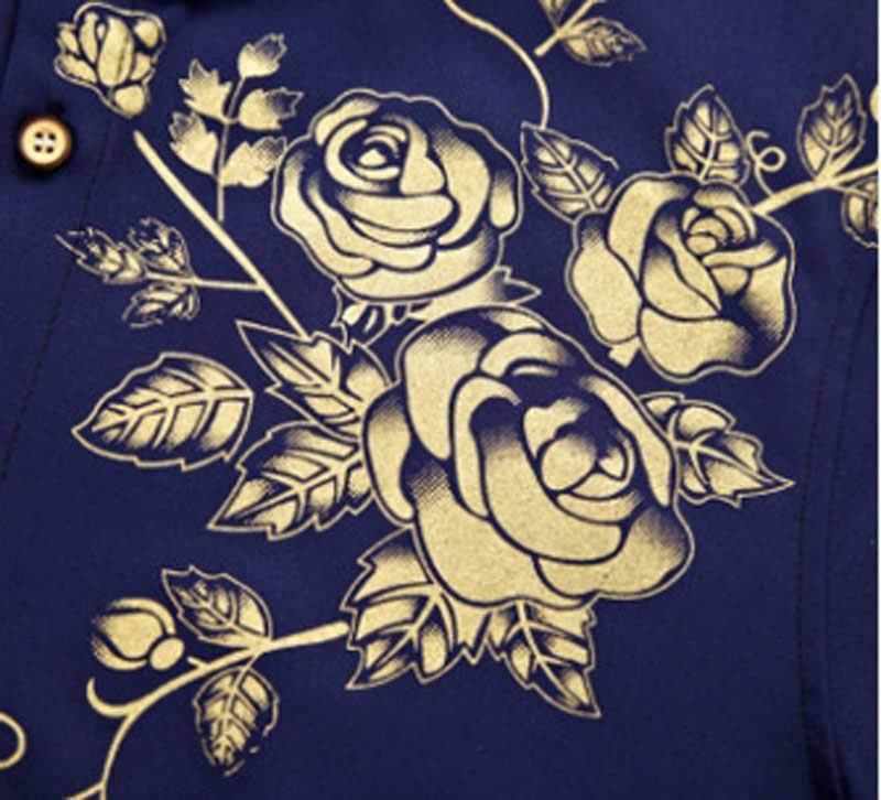 黄金の花印刷シャツ男性スリムフィットシュミーズオム 2018 ブランド新メンズ長袖ボタンダウンドレスシャツカミーサ社会