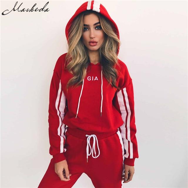 2 Piece Set Women Tracksuit Sportswear Casual White Red Sweat Pants Hooded Cropped Sweatshirt Hoodie 3
