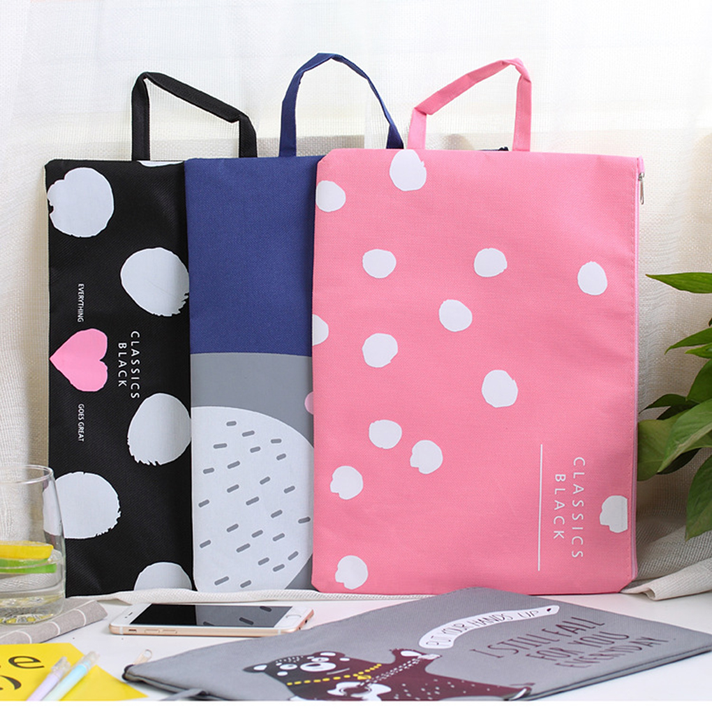 1pcs A4 Waterproof Polyester Fabric File Folder For Documents Stationery Multifunctional Multilayer Document Bag Zipper Handbag