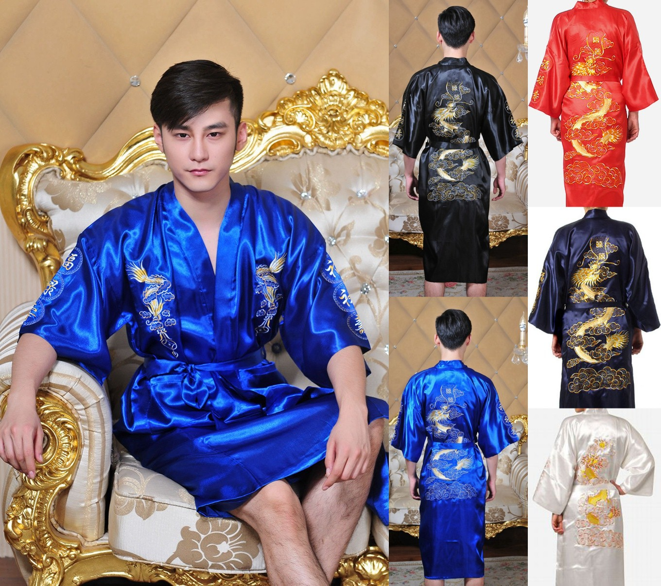 New Arrival Navy Blue Male Silk Robe Chinese Classic Embroidery Night Wear Traditional Kimono Gow 167