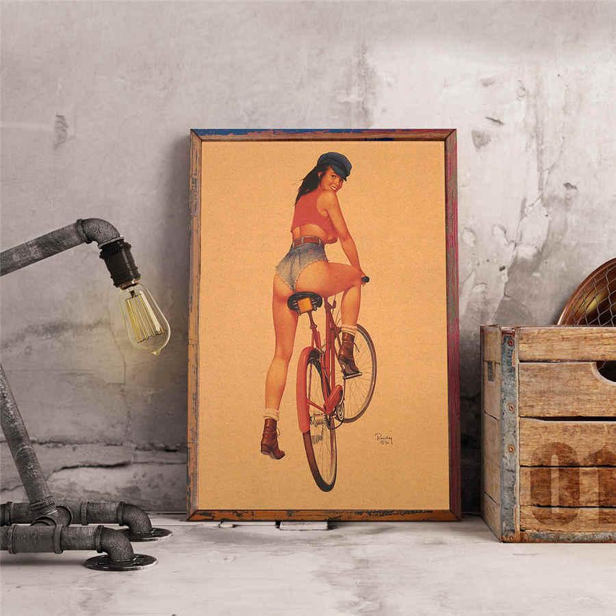 Xe đạp Sexy Cô Gái áp phích Cổ Điển Cổ Điển thiết kế nhân vật retro bức tranh tường nghệ thuật hình nền cafe bar pub trang trí nội thất 42x30 cm MXC034