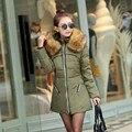 2016 novo algodão feminino casaco longo para baixo gola de pele casaco de algodão Coreano de Slim era Magro Tops
