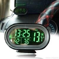 Nowy cyfrowy zegar lcd samochodu woltomierz termometr napięcie baterii Temprerature Monitor DC 12 V 24 V Freeze Alert w Mierniki napięcia od Narzędzia na