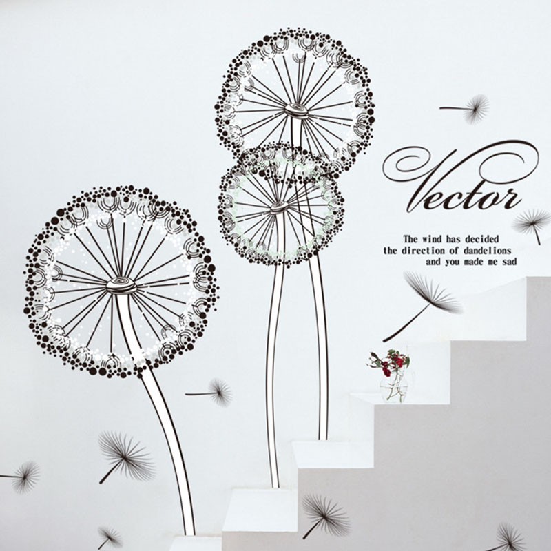 Us 82 Hot Wall Sticker Home Decoration Plant The Dandelionwall Sticker Easy Remove Pvc Decoration Living Room Wallpaper Wall Sticker In Wall