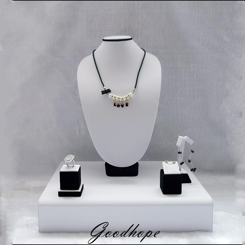 Mannequin Jewelry Display Showcase Set Long Necklace Stand