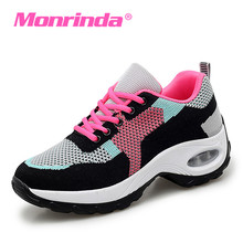 Height Increasing 5cm Women Snekaers Breathable Mesh Walking Shoes for Woman Lace Up Ladies Athletic Black Red Female 40