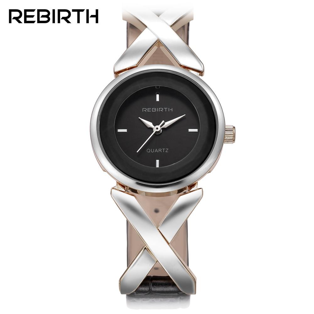 REBIRTH 2017 Fashion Lady rokas pulkstenis Quartz Woman Luxury Leather Strap Pulksteņi Sieviešu pulkstenis Relogio Feminino Montre Femme